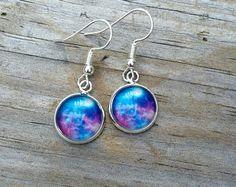 Galaxy Dangle earrings, earrings, space earrings, cabochon earrings, 12mm earrings, Gifts for her, Science Earrings, Stocking Stuffers