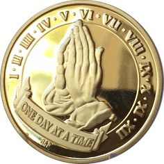 Praying Hands One Day At A Time 22k Gold Plated AA Medallion Chip Serenity Prayer Years 1-12