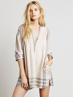 Free People Long Sleeve Yarn Dye Lurex Tunic at Free People Clothing Boutique - CHAMPAGNE _SIZE SMALL