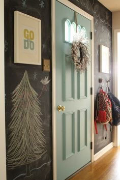 2014 Blogger Stylin Christmas Home Tour- Primitive & Proper; christmas chalkboard wall
