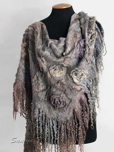 """Купить Шаль валяная """"Greta"""" - серый, бохо, бохо-стиль, винтажный стиль, цветочный"""