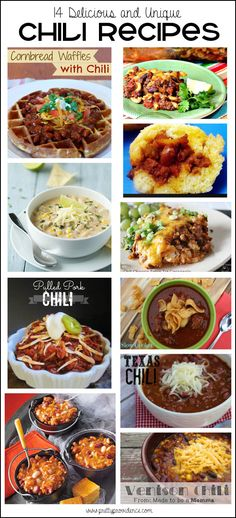 14 delicious and unique chili recipes! I've tried a couple of these already and they are super yummy!