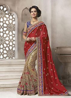 Brown With Maroon Viscose Satin Sarees Online ,Veeshack.com | Fashion for the World