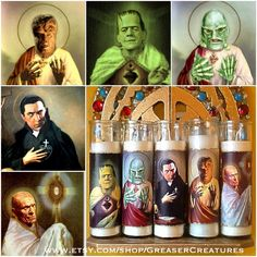 Universal Monsters Complete Prayer Candle Set. Saint Frankenstein, Saint Creature, Saint Dracula, Saint Wolf Man, And Saint Mummy by GreaserCreatures on Etsy https://www.etsy.com/listing/187768504/universal-monsters-complete-prayer