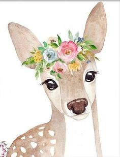 Discover recipes, home ideas, style inspiration and other ideas to try. Baby Animal Drawings, Cute Drawings, Watercolor Animals, Watercolor Paintings, Watercolor Deer, Animal Paintings, Nursery Art, Cute Wallpapers, Painting Inspiration