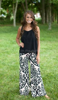 The Pink Lily Boutique - Black and Tan Damask Palazzo Pants , $34.00 (http://thepinklilyboutique.com/black-and-tan-damask-palazzo-pants/)