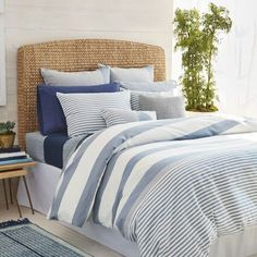 Shop for Nautica Fairwater Navy and White Nautical Striped Comforter Set. Get free delivery On EVERYTHING* Overstock - Your Online Fashion Bedding Store! Get in rewards with Club O! Nautical Bedroom, Coastal Bedrooms, Nautical Home, Guest Bedrooms, Coastal Bedding, Coastal Master Bedroom, Nautical Bedding Sets, Single Bedroom, Bedroom Rustic