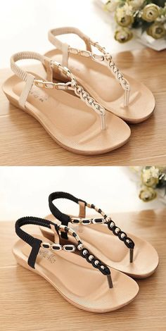 a0378dc4f Metal Chain Clip Toe Bohemia Flat Elastic Sandals For Women is comfortable  to wear. Shop on NewChic to see other cheap women sandals on sale.