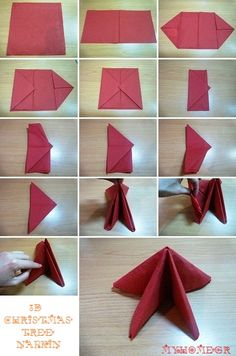Best DIY Napkin Folding Tutorials for Christmas, Diy Abschnitt, Christmas Tree Napkins, Christmas Dining Table, Christmas Diy, Christmas Decorations, Xmas Crafts, Decor Crafts, Diy And Crafts, Quilted Coasters, Quilling Animals