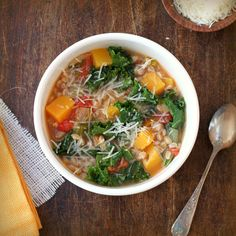 farro and kale soup- sub Farro w/ a GF option- growing these veggies in my garden this year