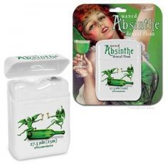 Absinthe Flavored Floss - Rumor has it, the famous literary greats from the 20's and   30's drank Absinthe, causing mild hallucinations and contributing   to the creation of great pieces of literature.  While this licorice   flavored floss won't make you see things, it may inspire you to write   the next great novel one night, while flossing your teeth.