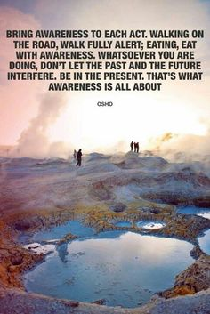 Bring awareness to each act. Walking on the road, walk fully alert; eating, eat with awareness. Whatsoever you are doing, don't let the past and the future interfere. Be in the present. That's what awareness is all about. -Osho
