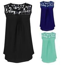 Women Summer Shirt Lace Splice Solid Chiffon Vest Sleeveless Blouse Tank Tops