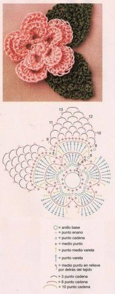 Crochet flower with attached leaves. Free diagram.