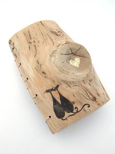 Unique Wood Journal or Wedding Guest Book with two cats by KatDeco