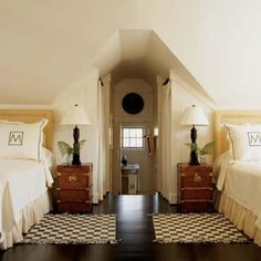 Notice how a bonus room is turned into a guest room for two.  Could also add a double bed or queen bed for a family of guests.