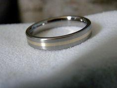 Wedding Ring Band Titanium with Yellow Gold Stripe Satin on Etsy, $145.00