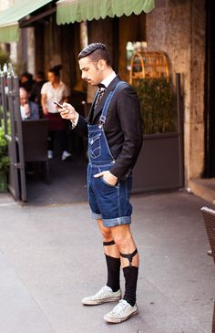 Guys... Just no. Even his suit jacket can't make over-all's socially acceptable, unless you're a farmer. Or lumberjack. We like lumberjacks. But not at Blacktie events.