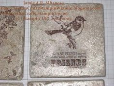 Travertine Tile Coasters created by stamping