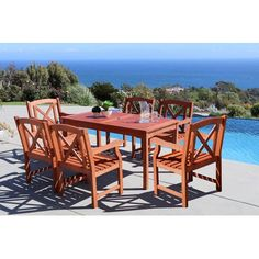 Beachcrest Home Monterry 7 Piece Wood Outdoor Dining Set