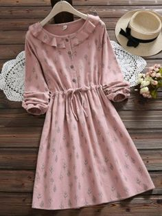Buy Snow Flower Floral Long-Sleeve Ruffled Collar A-Line Dress Modest Dresses, Modest Outfits, Cute Dresses, Casual Dresses, Short Dresses, Girls Dresses, Dresses With Sleeves, Muslim Fashion, Modest Fashion