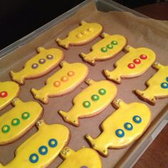 Visual Catering Menu:  Custom Yellow Submarine Cookies for Beatles Inspired First Birthday Bash by Freshmade NYC www.freshmadenyc.com