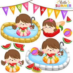 Bolos Pool Party, Adobe Illustrator, Vector Photo, Displaying Collections, Watermelon, Vector Free, Badge, Kids Rugs, Sticker