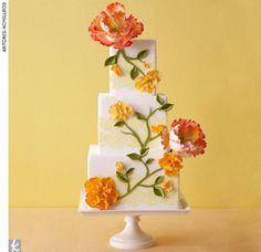 wedding cake with flowers Square Wedding Cakes, Wedding Cakes With Flowers, Cake Flowers, Flower Cakes, Big Flowers, Edible Flowers, Orange Flowers, Gorgeous Cakes, Pretty Cakes