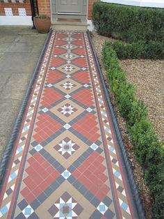 Victorian pattern tessellated tiled path