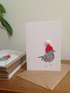 Our Robin got a Christmas makeover! A lovely greeting card with hand drawn artwork called Robin by Michaela @ GOGA GOGA with a Christmas twist. It is cards Items similar to Christmas Robin Hats Up on Etsy Watercolor Christmas Cards, Christmas Card Crafts, Homemade Christmas Cards, Merry Christmas Card, Christmas Cards To Make, Xmas Cards, Christmas Greetings, Homemade Cards, Handmade Christmas