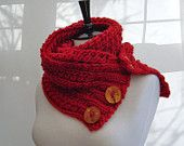 Easy KNITTING PATTERN Infinity Scarf Cowl with Button tab Digital delivery. $5.00, via Etsy.