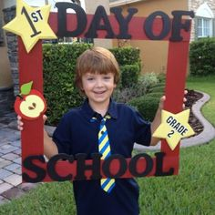 "First day of school frame. Make the stars removable so that you can use the same frame to take multiple pictures (""100th"" and ""last"" days, and if you change grades)."