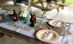 Disposable bamboo plates and forks! It's a great Eco friendly addition to the Shabby Chic theme.