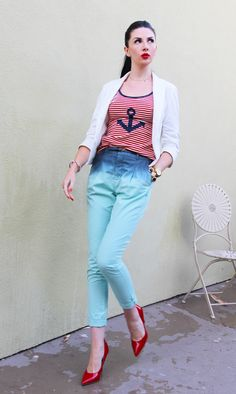 Nautical outfit; white blazer, striped tank with anchor, zara ombre pants