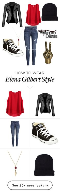 """""""TVD style.//Elena Gilbert."""" by maddie2615 on Polyvore featuring H&M, Converse and Missguided"""