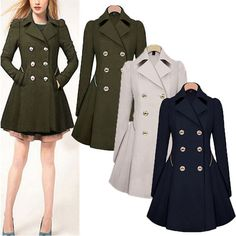 Womens Slim Coat Winter Double Breasted Peacoat Lapel Outwear Trench Coat Jacket #Unbranded #BasicCoat