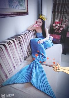 Fashion card wow Iraq mermaid tail knitting blanket
