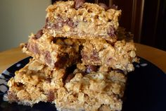delicious oatmeal bars with peanut butter caramel in the middle.. so good! super easy to make!