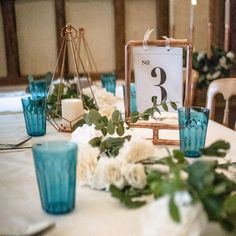 Wedding decor created from copper piping for hire Copper Table, Wedding Decorations, Table Decorations, Turquoise, Display, Create, Home Decor, Floor Space, Decoration Home