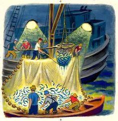 SOLD $175. 12/2014 TIBOR-GERGELY-ORIGINAL-ART-2-of-2-FISHERMEN-DEEP-BLUE-SEA-LITTLE-GOLDEN-BOOK