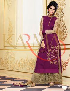 Purple Raw Silk Palazzo Style Suit 58729