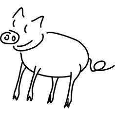 Sau Skizze, coole pig :-) Umbrellas, Sketches, Animals, Simple