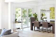 Featuring LaCantina, this indoor outdoor concept is brought to life by opening the living room and dining areas to a beautiful balcony space. Dining Room Design, Dining Area, Stacking Doors, Modern Farmhouse Design, Folding Doors, Beautiful Space, Building Materials, Outdoor Living, Indoor Outdoor
