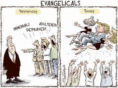 Evangelicals Yesterday and Today -- Attitude towards then-Pres. Bill Clinton vs attitude now towards Donald Trump