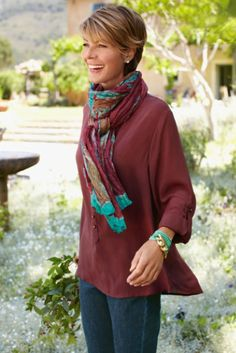 Women's Cheyenne Shirt - Drape Top, Ladies Loose Fit Shirt, Relaxed Blouse | Soft Surroundings and To Dye For Silk Scarf