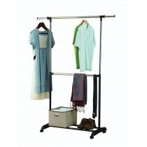Portable And Expandable Garment Rack In Black Chrome 18 Months Unique Product Image For Dual Bar Adjustable Garment Rack 2 Out Of 2
