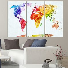 Paint splashes map of the world map art print 168 paint splash world map canvas print contemporary 3 panel by edecorshop on etsy gumiabroncs Image collections