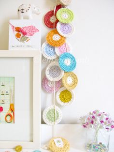 Polly crochet garland polka dot nursery decor in by emmalamb