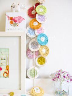 Polly crochet garland polka dot nursery decor in by emmalamb