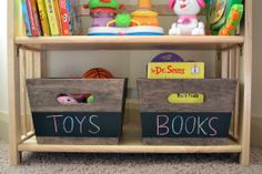 Fun idea.  Label baskets with chalkboard paint then labels are easy to change when needed.